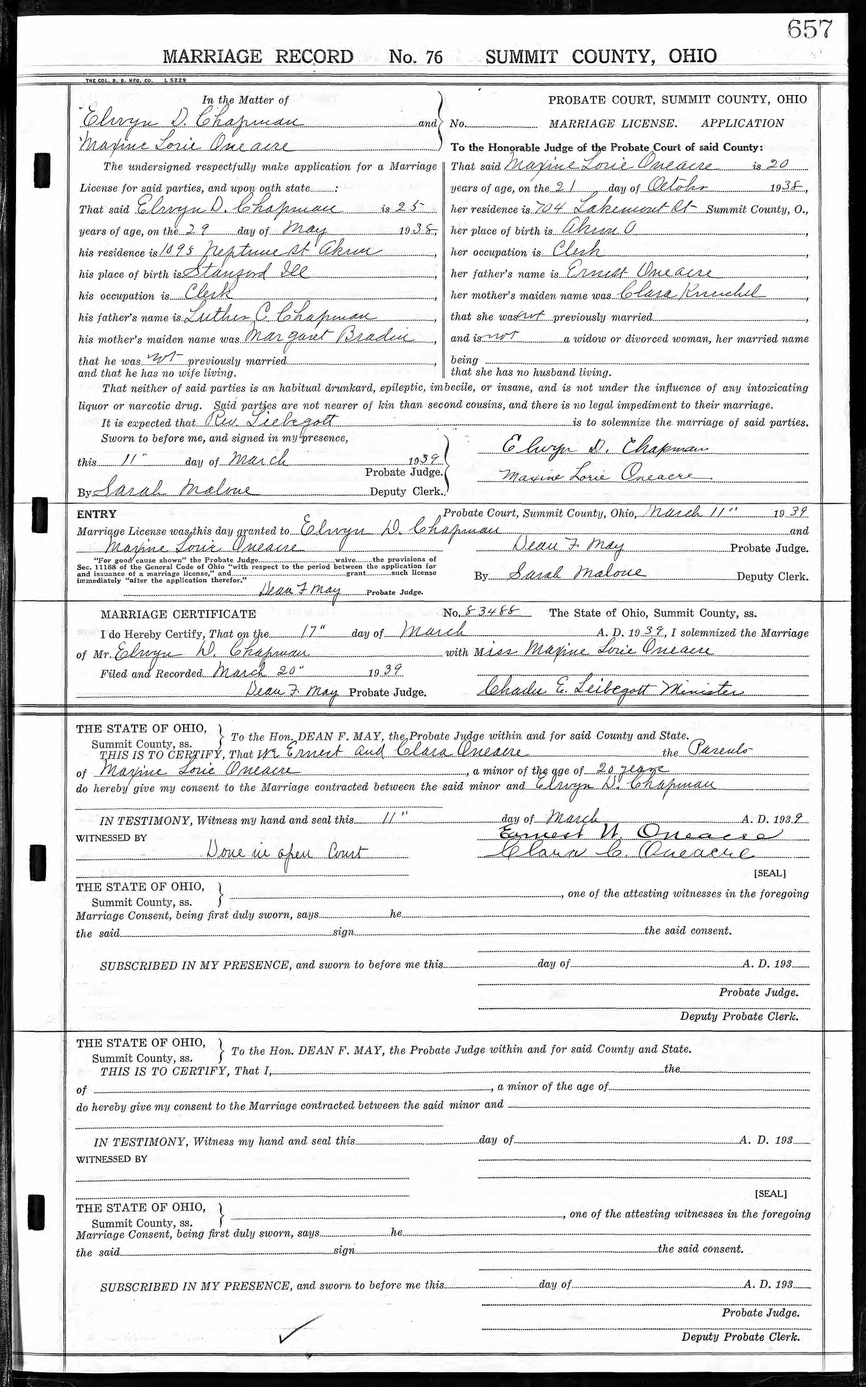 Documents Marriage Certificate For Maxine L Oneacre And Elwyn D